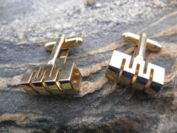 Vintage Zig Zag Cufflinks. Gold Tone. Wedding, Men's Christmas Gift, Dad. CUSTOM ORDERS Welcome