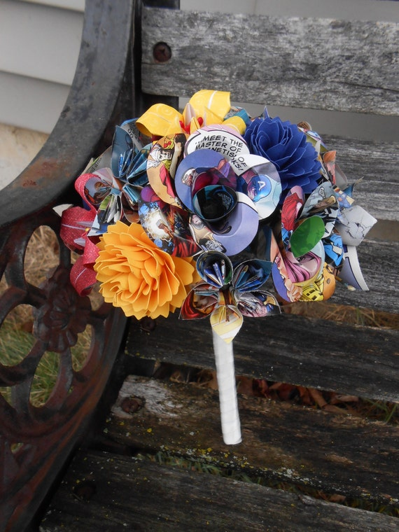 COMIC Flower Girl Bouquet, Mini Size. YOU CHOOSE The Colors, Papers, Books, Etc.  Anything Is Possible. Wedding, Toss