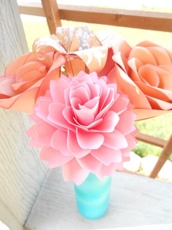 Peach & Pink Paper Flowers, Half Dozen. Other Colors Available. Centerpiece, Wedding, Paper Flower Bouquet