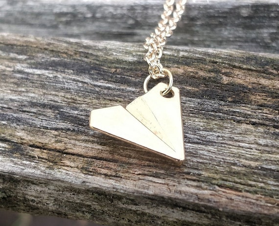 Paper Airplane Necklace, Silver Or Gold. Wedding Gift, Bridesmaid, Mom, Anniversary Gift. Birthday. Unique Gift.