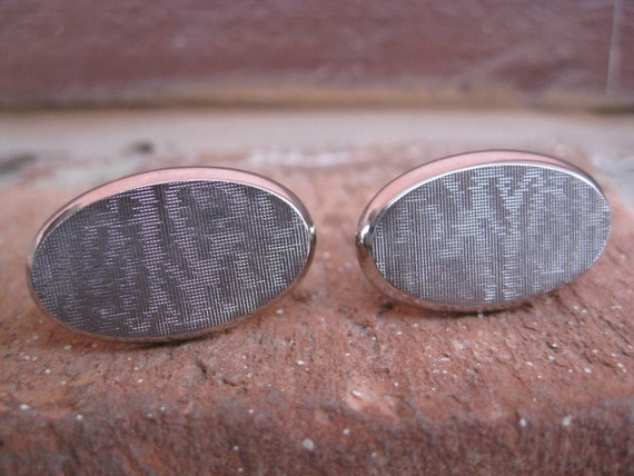 SALE: Vintage Silver Abstract Cufflinks. Made by Hickok. Wedding, Men's Christmas Gift, Dad.