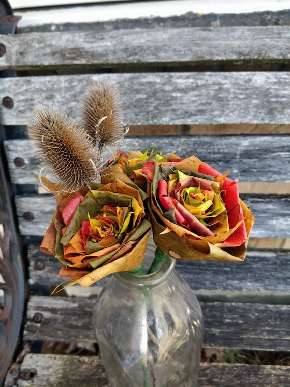 FALL Maple Leaf Rose Bouquet, With Teasel Plants. REAL LEAVES! Fall Home Decor, Thanksgiving, Halloween