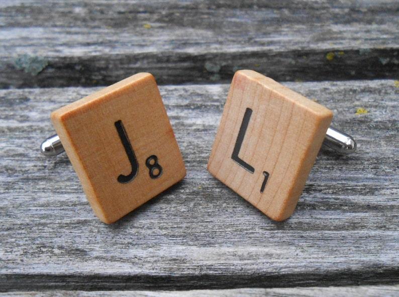 CHOOSE YOUR LETTERS Christmas. Birthday Game Tile Cufflinks Anniversary Wedding Groom Groomsmen Gift Dad