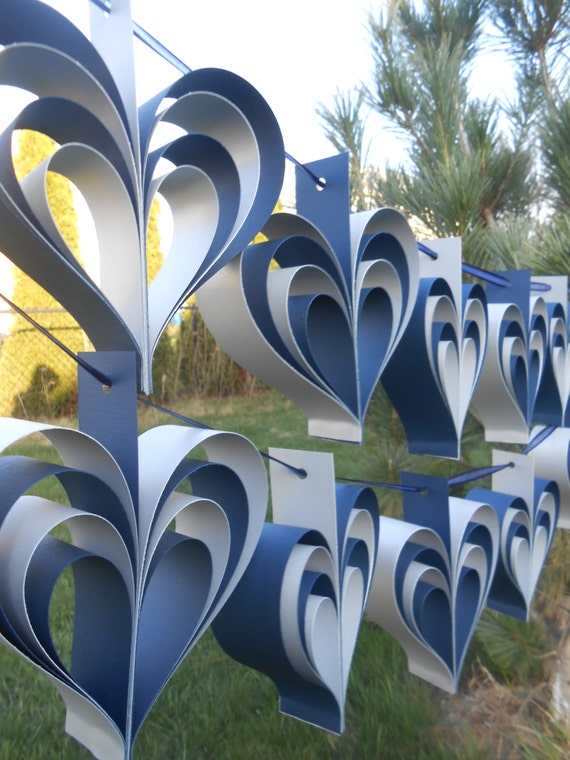TWO Garlands Of NAVY & SILVER Hearts. 10 Hearts. Wedding, Shower Decoration, Home Decor. Custom Orders Welcome. Any Color Available.