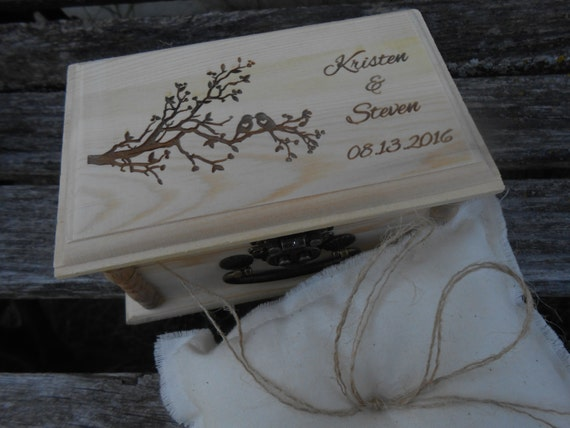 Personalized Tree Love Bird Ring Box, Pillow. CHOOSE YOUR PILLOW Style! Mr. Darcy, Proposal, Wedding.