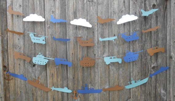 Military Vehicle Garland. CHOOSE Your VEHICLES & COLORS.  Custom Orders Welcome. Birthday, Welcome Home Decoration