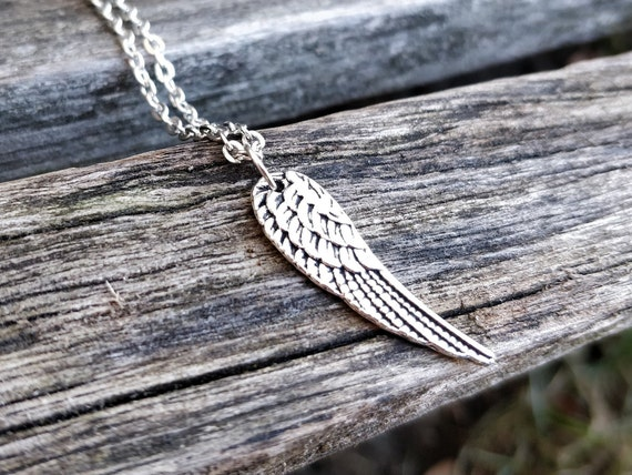 Wing Necklace, Silver. Wedding Gift, Bridesmaid, Mom, Anniversary Gift. Birthday. Angel. Bird. Unicorn, Pegasus