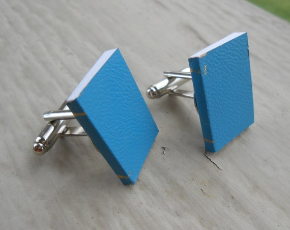 Mini Book Cufflinks. REAL BOOKS!!! Wedding, Men's Christmas Gift, Dad. Silver Plated.
