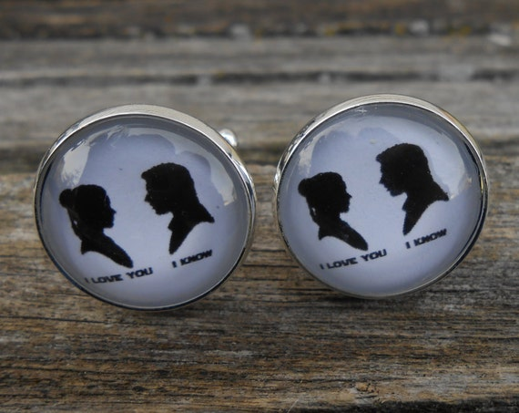I LOVE You, I KNOW Cufflinks. Silhouette, Wedding, Men's Christmas Gift, Groomsmen, Dad. Silver Plated. Custom Orders Welcome.