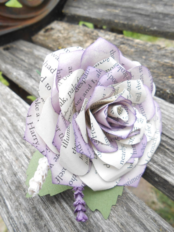 Paper Rose Boutonnieres. CHOOSE YOUR COLORS, Books, Etc. Any Amount, Colors, Theme, Etc. Custom Orders Welcome.