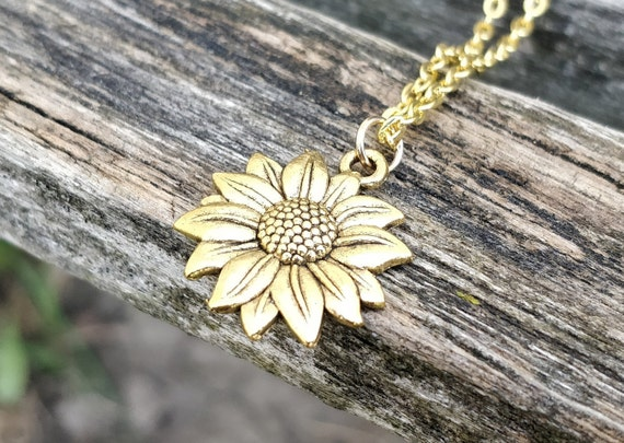 Sunflower Necklace. Choose Your Color. Gift For Wedding, Bridesmaids, Kids, Anniversary, Birthday, Christmas.