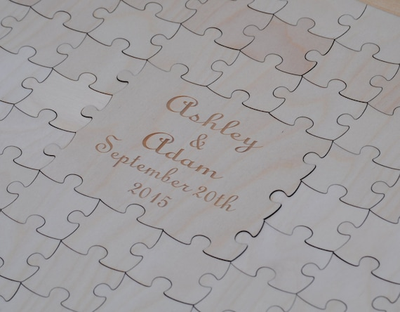 Wood Guest Book Puzzle. Personalized, Guest Book Alternative. Wedding, Shower, Party. LARGE Pieces. Laser Engraved.