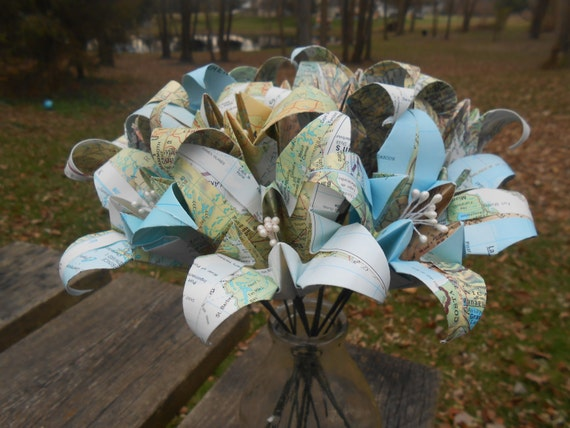 Vintage Map Paper Lily Bouquet. Bridal, Wedding, Anniversary, Gift, Christmas. Origami Flowers. Custom Orders Welcome.