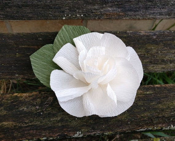 Gardenia Hair Piece. Wedding Hair Accessories. Paper Flowers. Bride, Bridesmaid, Flower Girl, Tiara, Wreath, Barrette. Crepe Paper