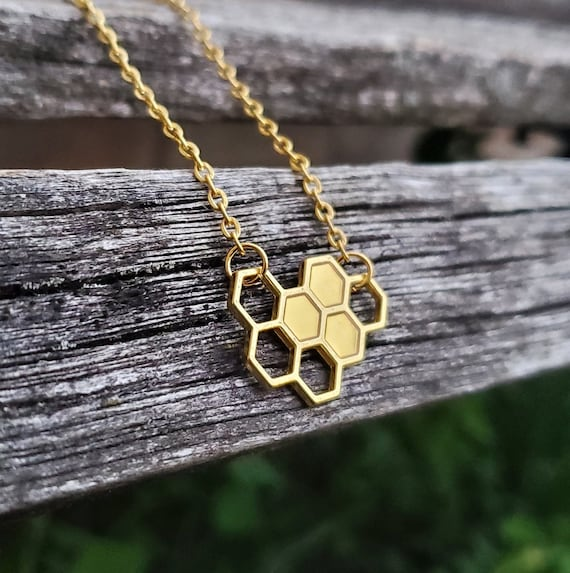 Honeycomb Necklace. Gift For Mom, Dad, Kids, Anniversary, Birthday, Christmas. Bee Necklace