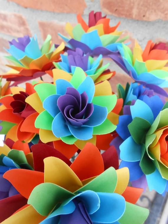 Dozen Rainbow Mums & Dahlias, Rainbow Paper Bouquet. Anniversary, Birthday, Centerpiece. Gay Pride. Wedding