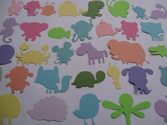 100 Animal Cutouts. 4 inch. YOUR CHOICE Of Animal & Colors. Custom Orders Welcome. Weddings, Favor, Wishing Tree, Escort, Gift, Table.