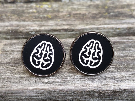 Brain Cufflinks. Black White Acrylic. Wedding, Groomsmen Gift, Dad, Anniversary, Birthday, Doctor, Neurosurgeon