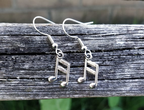 Music Note Earrings. Silver. Musician Gift, Wedding Gift, Bridesmaid, Mom, Anniversary Gift, Birthday, Dangling