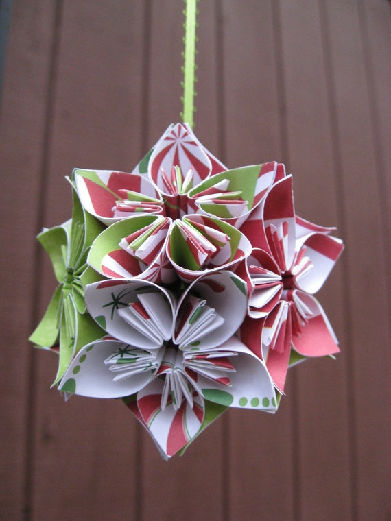 CHRISTMAS Origami Kusudama Ball, Mini 3 Inch Size. Perfect For Decoration Around The House Or On The TREE. Custom Orders WELCOME