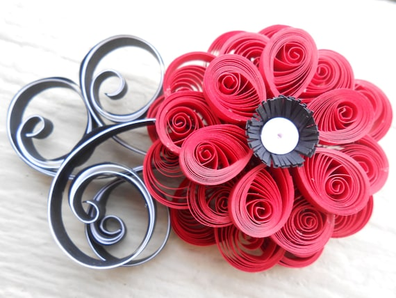 Bridal Hair Piece. CHOOSE YOUR COLORS! Wedding, Bridal, Bridesmaid, Prom. Custom Orders Welcome. Quilled Flowers.