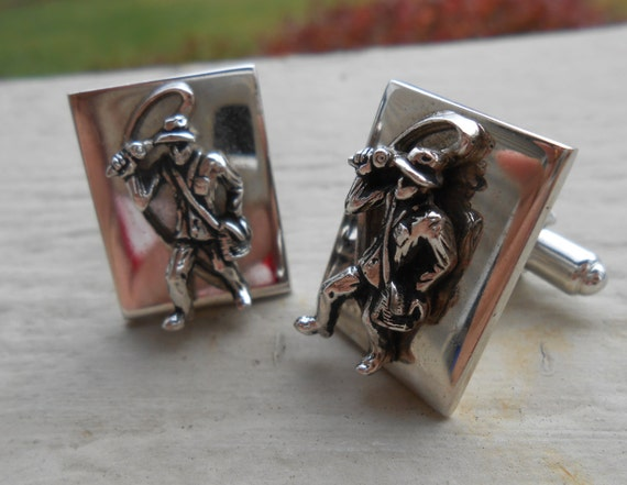 Vintage Fly Fishing Cufflinks. Wedding, Men's Christmas Gift, Dad.  Silver Tone. Fly, Rod, Lure