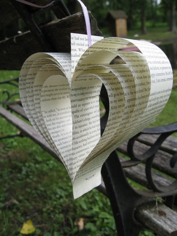 20 Pride & Prejudice Hearts. Jane Austen, Wedding Decor, Shower, Home Decor. Custom Orders Welcome.