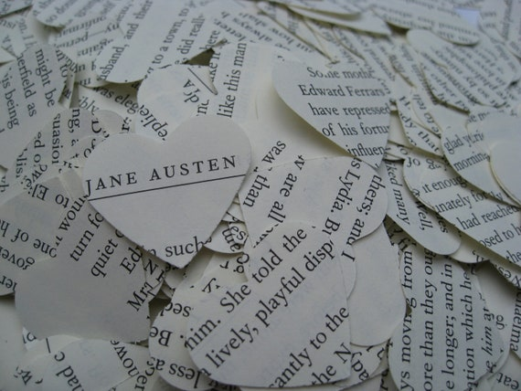 1000 Jane Austen Confetti, Heart-Shaped. Emma, Sense & Sensibility, Pride And Prejudice.  Custom Orders Welcome.