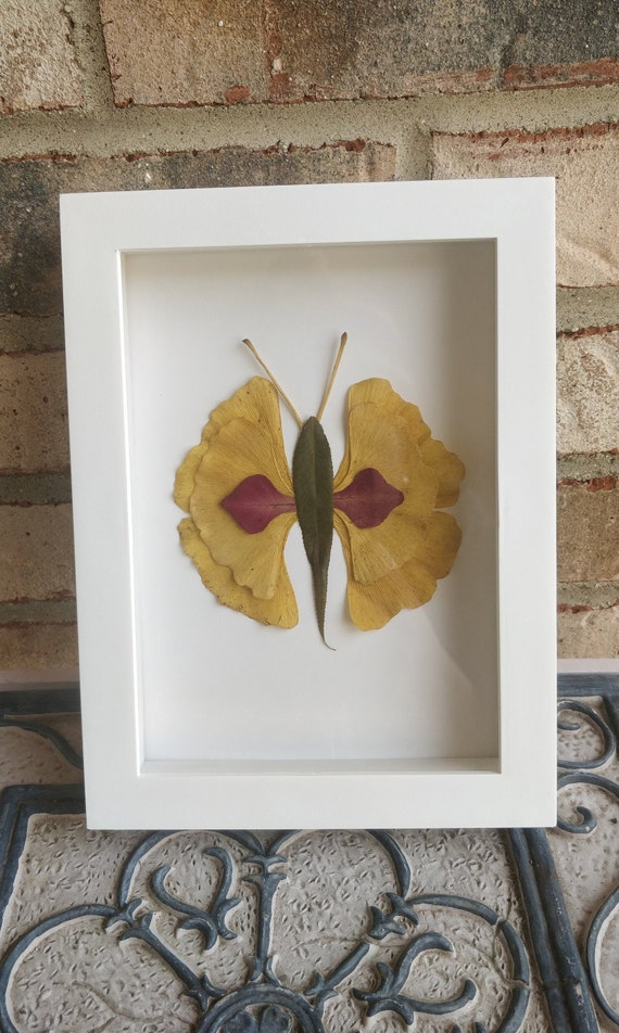 Leaf Butterfly Picture. Real Leaf Art. Baby Room Decoration, Kids Decor, Birthday Gift, Butterfly Wings.