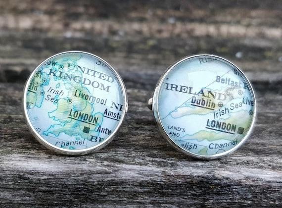 Vintage Map UNITED KINGDOM Cufflinks. Gift, Wedding, Groom, Birthday, Custom Orders Welcome. England, Ireland, Scotland, UK