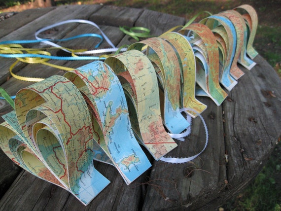 10 Vintage Map Hearts. Garland or Individual Ribbon. Wedding, Shower, Birthday, Decoration. Travel, Destination Wedding.