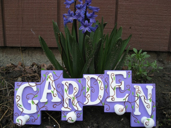 Purple Garden Sign, With Hooks.  Perfect For The Gardener, Mother's Day, Gifts For Her, Anniversary Gift, Housewarming.