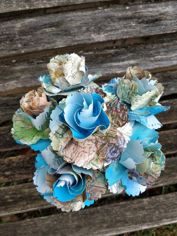 Map Flowers, Half Dozen Wild Roses. Centerpiece, Wedding, Paper Flower Bouquet