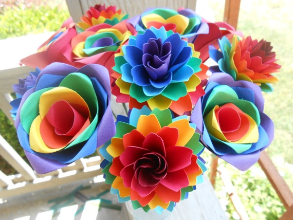 Rainbow Rose & Dahlia Bouquet. Red, Orange, Yellow, Green, Blue, Purple.  OTHER colors available as well. Wedding, Paper Flower Bouquet