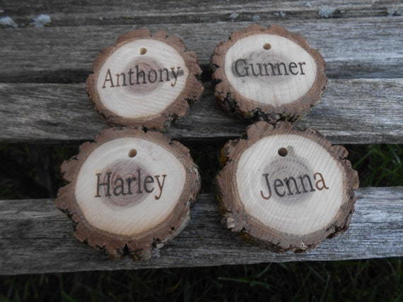 CHRISTMAS STOCKING NAME Tags. Personalized Wood Round, Live Edge. Christmas, Winter Decoration. Custom Orders Welcome.