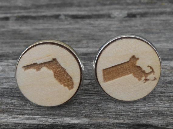 His & Hers State Cufflinks. Laser Engraved Wood. Wedding, Men's, Groomsmen Gift, Dad. Custom Orders Welcome. Florida, Massachusetts
