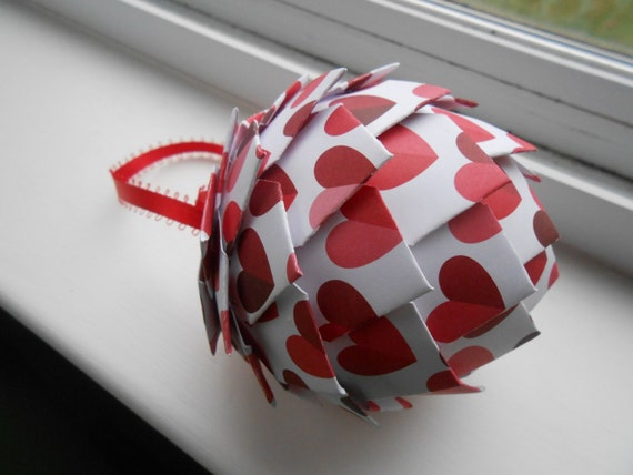 Heart Paper Ornament. Decoration, Christmas, Gift, Birthday, Anniversary, Wedding.  Valentine. LOVE