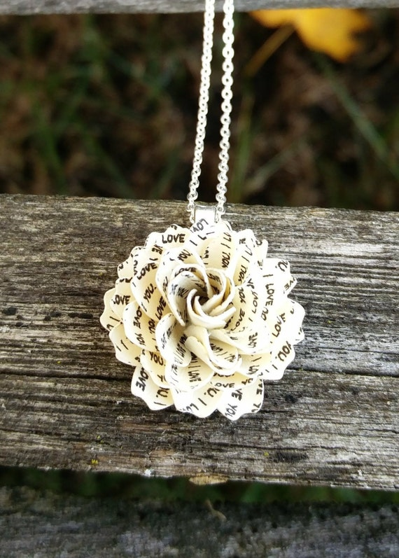 I Love You Dahlia Paper Flower Necklace. Wedding, Bridesmaid Gift, Birthday, Gift, Women, First Anniversary, Valentine's Day