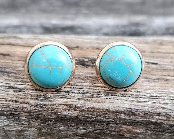 Turquoise Stone Earrings. Post Earrings. Wedding, Birthday Gift, Christmas Gift, Gift For Mom, Anniversary Gift