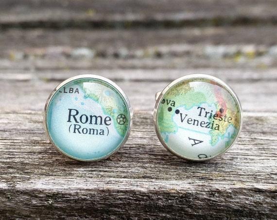 Vintage ITALY Cufflinks. ROME & VENICE. Wedding, Anniversary, Birthday, Groom, Christmas Gift, Dad.