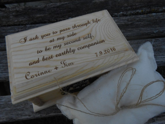 Jane Eyre Proposal Quote Ring Box, Pillow. CHOOSE YOUR PILLOW Style! Rochester, Wedding. I ask you to pass through life at my side. Bronte