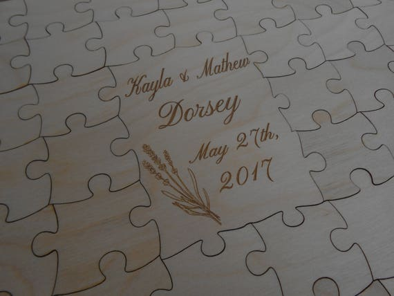 Wood Guest Book Puzzle. Personalized, Guest Book Alternative. Wedding, Shower, Party.  Laser Engraved. CHOOSE YOUR SIZE.