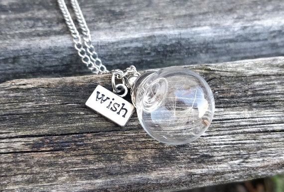 Dandelion Seed Necklace. Make A Wish. Gift For Wedding, Bridesmaids, Anniversary, Birthday, Christmas.