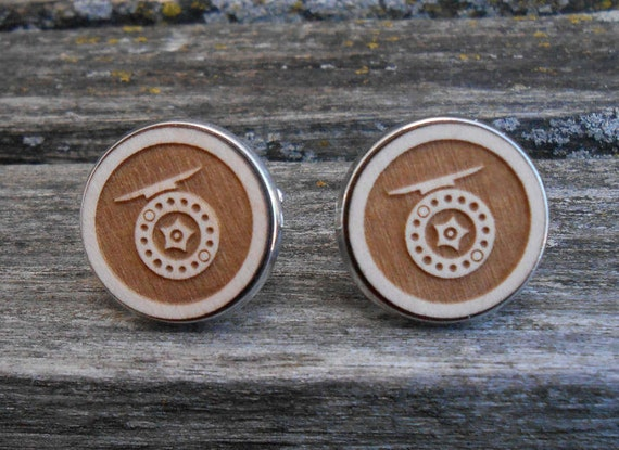 Fishing Reel Cufflinks. Fly Fishing, Unique Gift, Dad, Wedding, Groom, Groomsmen, Father of the Bride, Anniversary, Pole, Rod