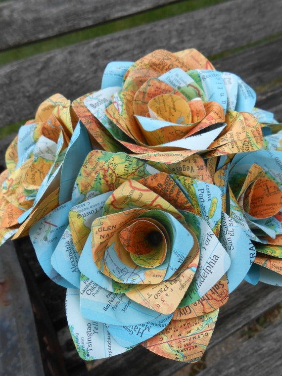 6 Vintage MAP Paper Roses. Handmade Bouquet. Other Colors Available. CUSTOM ORDERS Welcome.