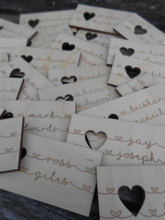 100 Custom Wedding Place Cards, Escort Cards. Rustic Name Tags, Laser Engraved Wood. CHOOSE YOUR SIZE. Custom Orders Welcome
