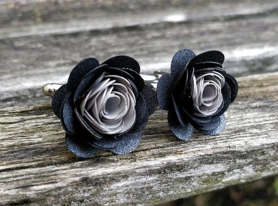 Paper Flower Cufflinks. CHOOSE YOUR COLORS!  Wedding, Groom, Groomsmen, Christmas Gift, Dad. Silver Plated.