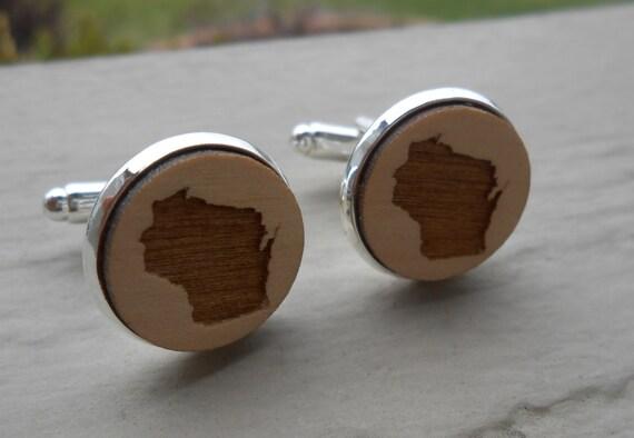 Wood STATE Cufflinks. Wisconsin. Laser Engraved. Wedding, Men's, Groomsmen Gift, Dad. Custom Orders Welcome. Packers