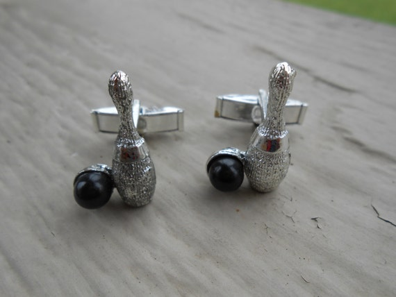 Vintage Bowling Cufflinks. Wedding, Men's, Groomsmen Gift, Dad, Groom, Christmas.  Ball.