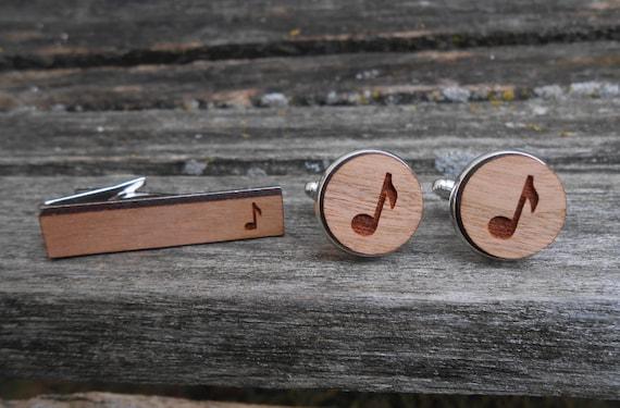 Music Cufflinks, Tie Clip. Laser Engraved Wood. Wedding, Anniversary, Groomsmen Gift, Dad. Music Note. Eighth Note, Sheet Music